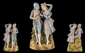 Large German Bisque Figure of a Mandolin Player, courting an admirer, c1900,