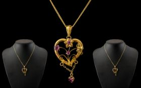 9ct Gold Edwardian Floral Pendant with Gold Chain.