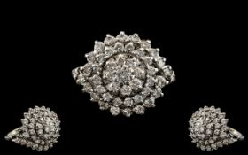 18ct White Gold - Magnificent Diamond Set Cluster Ring of Large Proportion. Flower head Setting /
