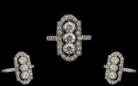 Platinum Superb Quality Diamond Set Ring of Attractive Design. Marked Platinum to Interior of Shank.