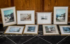 South American Interest: Set of Six Framed Watercolour Drawings depicting village street scenes with
