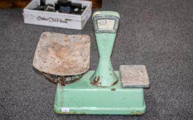 Large Antique Green Enamel Shop Scales.
