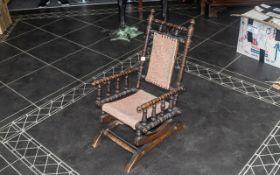 Child's Victorian Oak Rocking Chair, wit