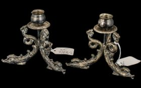Pair of Quality Heavy Cast Metal Silver