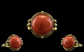 Ladies 14ct Gold and Pink Coral Mediterr