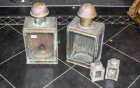 Four Original Brass Ship's Lamps, two la