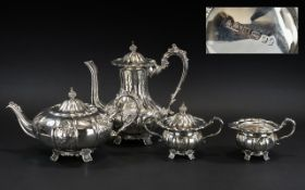 Elizabeth ll Sterling Silver Large and Impressive Four Piece Coffee and Tea Service of excellent