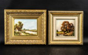 Two Small Oil Paintings on Wood Panels, One Depicting a River Landscape with Ducks and Trees,