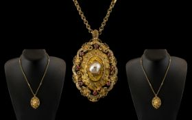 Ladies 9ct Gold - Attractive Ruby and Pearl Set Ornate Pendant From the 1970's of Pleasing Design