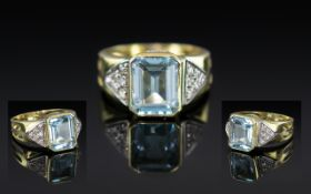 18ct Yellow Gold - Excellent Quality Aquamarine and Diamond Set Dress Ring,