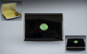 Wonderful 1930's Superior Quality Sterling Silver Black Enamel Lidded Hinged Box,