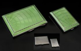 Art Deco Period - Stunning and Superb Boxed Set of Sterling Silver and Blue Enamel Cases ( 2 ) In