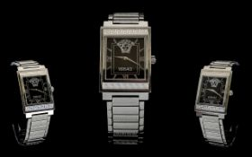 Versace Wristwatch, Gents Stainless Steel Watch, Rectangular Dial, Black Dial With Baton Numerals,