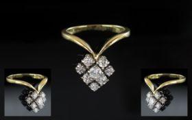 18ct Gold - Contemporary Designed Diamond Set Cluster Ring. Full Hallmark for 750 - 18ct.