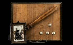 Wigan Police Force - Victorian Set of Four buttons, truncheon and framed photograph of a uniformed