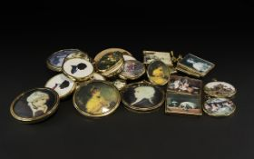 Collection of Miniature Framed Silhouettes, assorted styles, mostly by Peter Bates,