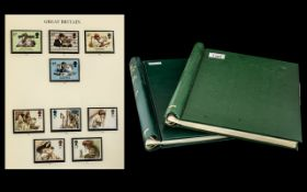 Pair of Green Spingback Stanley Gibbons Stamp Albums Largely Complete with Mint GB Stamps Covering