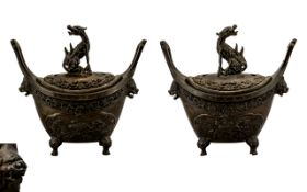 Ching Dynasty Pair of Finely Cast Heavy Bronze Boat Shaped Altar Incense Burners of unusual form,