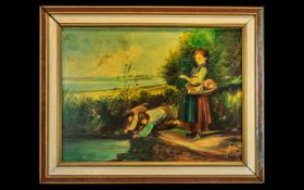 Oil on Board - Impressionist Painting of 2 Young Boys Fishing with Line In River and Young Lady