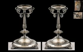 Pair of Early Victorian Heavy Cast Silver Plated Tazzas, the matching pair, of heavy gauge silver