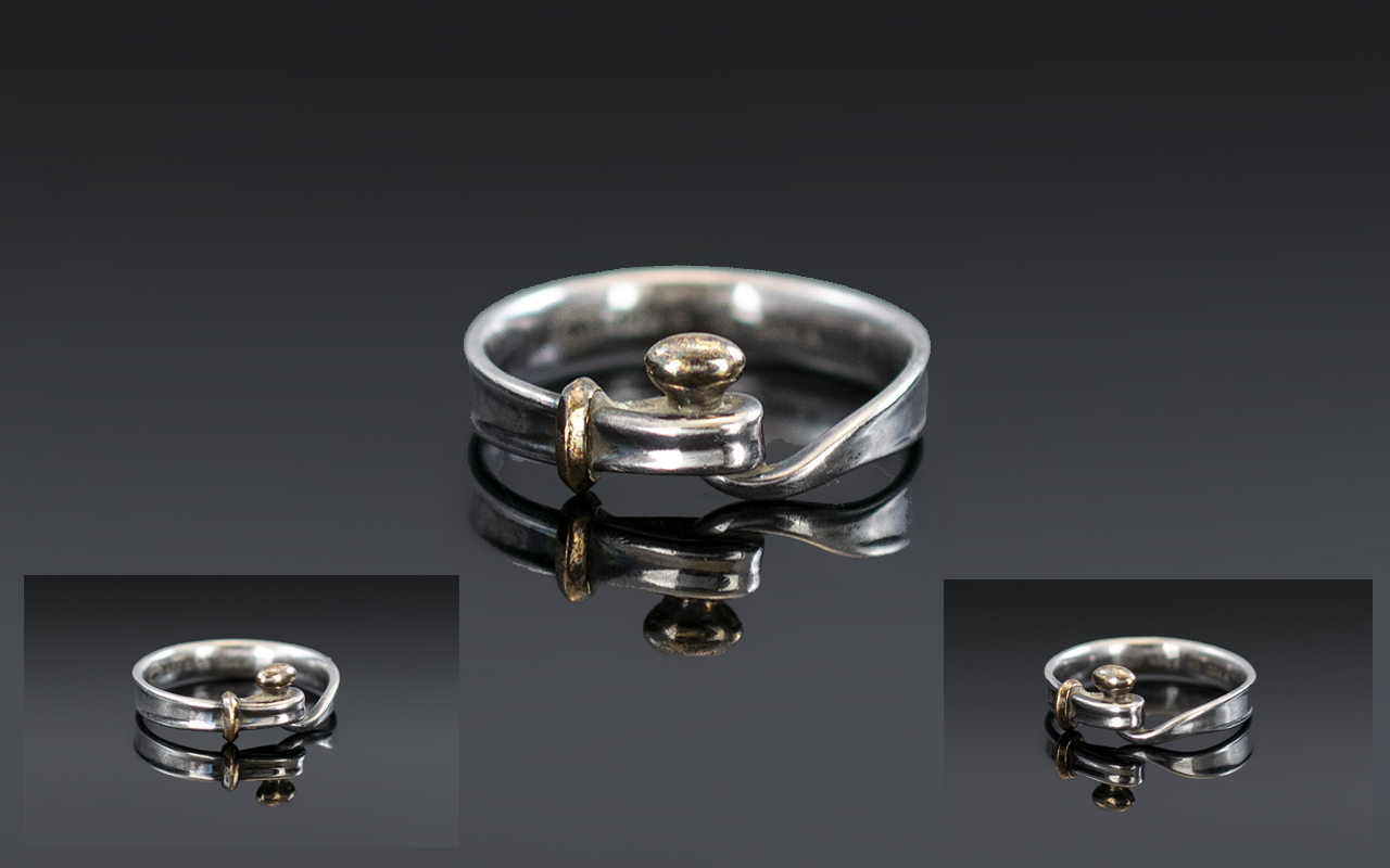 A Modern Georg Jensen Silver Ring Fully marked to interior 204A - 53, complete with box.
