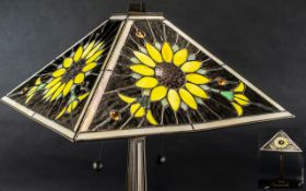 A Table Lamp with Tiffany Style Glass Shade, sunflower decoration,