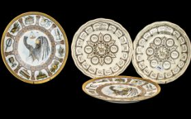 Spode & Goebel - Four plates - two 'Service of the Sader' brown litho in earthenware, together