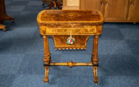 Victorian Ladies Burr Walnut Work and Games Table of fine quality,