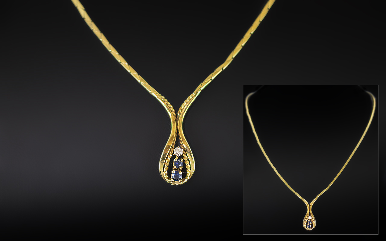 Ladies 9ct Gold Diamond and Sapphire Set Necklace With Drop, fully hallmarked for 9.375, 18