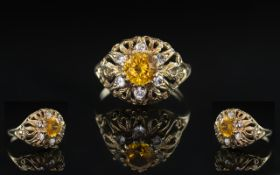 A 9ct Gold Dress Ring set with white faceted and Citrine coloured CZ fully hallmarked 4 grams Ring
