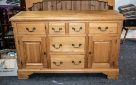 Large Pine Dresser and Rack of Typical Form, the rack with three fixed shelves,