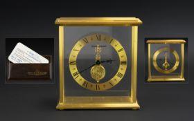 Jaeger-le-Coultre Ionic Gilt Metal Baguette Skeleton Clock, Jewelled Movement, Minimalistic Design,
