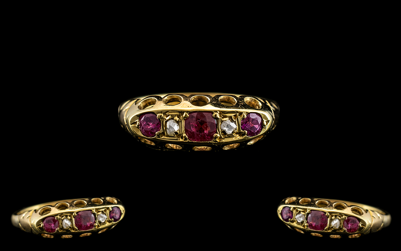 Antique 18ct Diamond Stud Ruby Ring. Lovely Colour and Design Throughout, Ring Size N. 3.4 grams.