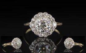 Antique Period - Ladies 18ct Gold and Platinum Superb Quality Diamond Set Cluster Ring.