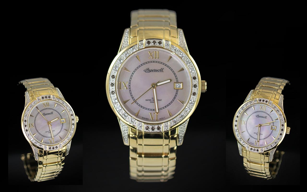 Ingersoll - Gems Gents Gold on Steel Quartz Wrist Watch, With Diamond Set Bezel Set with 24 Diamonds
