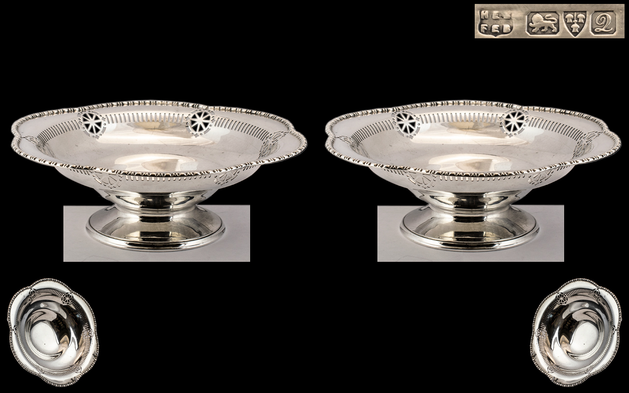 George V - Early Nice Quality Pair of Superb Sterling Silver Shaped Pedestal Bowls with Shaped