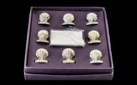Silver Plate Place Setting Holders. Lovely Quality 8 Place Settings, As New In Shell Design.