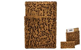 Chinese Antique Carved Wood Canton Card Case of the finest quality, depicting hundreds of monks in a