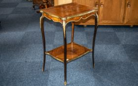 Small Ormolu Mounted French Antique Side Table with an Inlaid Parquetry Top,