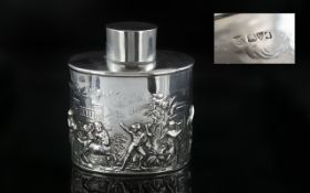 Edwardian Period Excellent Quality Sterling Silver Tea Caddy,