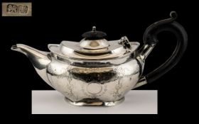 George II Sterling Silver Bachelors Teapot of Pleasing Proportions. Hallmark Chester 1737. Height