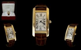 Cartier - Tank Americaine 18ct Gold Automatic Wrist Watch.