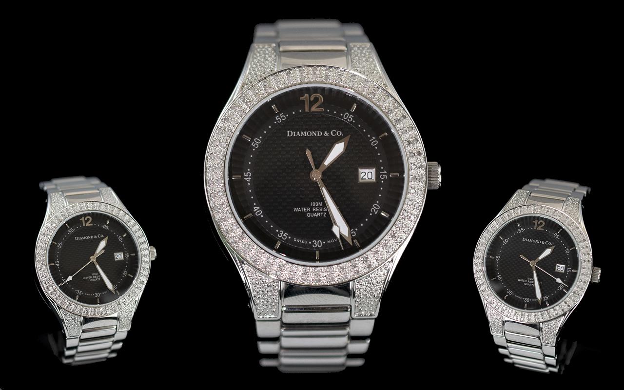 Diamond & Co Gents Stainless Steel Quartz Wrist Watch with Diamond Set Bezel, Black Dial, Silver
