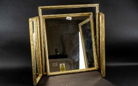 """Gilt Framed Triple Mirror of Square Form, overall size when opened 36"""" wide x 20"""" height."""