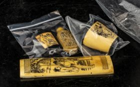 Selection of Four Man / Woman Erotic Bone Carvings, Includes Two Scent Bottles and Snuff Boxes. 20th