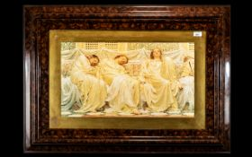 Large Classical Framed Print Depicting 3 Ladies mounted and framed behind glass,