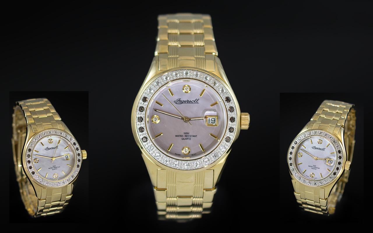 Ingersoll - Swiss Made Gents Gold on Steel Diamond and Topaz Set Wrist Watch. Features Diamonds