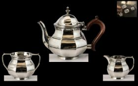 Mid Victorian Period 3 Piece Sterling Silver Bachelors Tea Service. Comprises Teapot, Milk Jug,