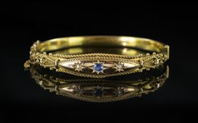 Edwardian Period - Attractive 15ct Gold Hinged Bangle Set with Sapphires and Diamonds.