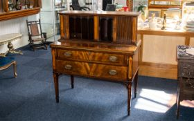 Edwardian Mahogany Sheraton Style Ladies Writing Desk, tambour fronted and in two sections,
